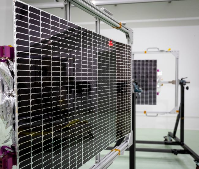 NASA's Parker Solar Probe is powered by two solar arrays, shown here on May 2, 2018, at Astrotech Space Operations in Titusville, Florida.
