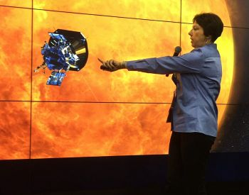 Project Scientist Nicky Fox points out features on the Solar Probe Plus spacecraft during her Dec. 13 flash talk at the AGU Fall Meeting in San Francisco.