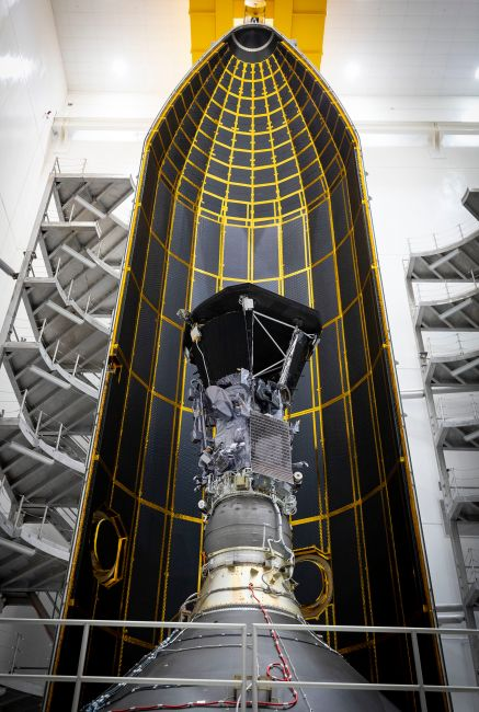 Parker Solar Probe awaits closure of its fairing and eventual transport to the launch pad in 2018.