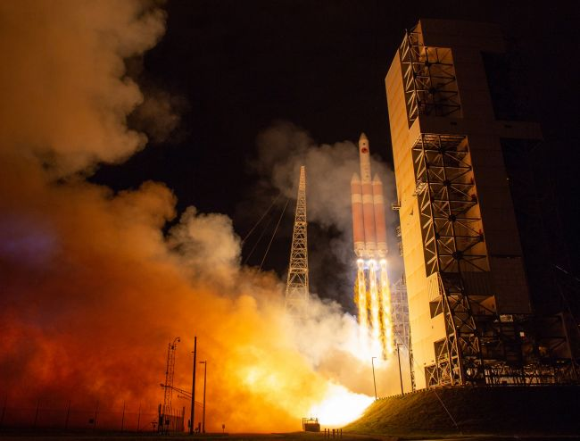 The United Launch Alliance Delta IV Heavy rocket launches NASA's Parker Solar Probe to touch the Sun, Sunday, Aug. 12, 2018 from Launch Complex 37 at Cape Canaveral Air Force Station, Florida.